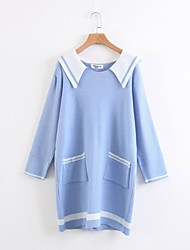 Feminino Tricô Vestido,Para Noite Casual Simples Moda de Rua Estampa Colorida Colarinho de Camisa Acima do Joelho Manga Longa Algodão