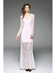 Women's Casual/Daily Beach Holiday Sexy Lace Dress,Solid V Neck Maxi Long Sleeve Polyester Spring Summer High Rise Micro-elastic Thin