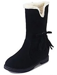 cheap -Women's Shoes PU Winter Comfort Snow Boots Boots Flat Heel Round Toe Mid-Calf Boots Bowknot For Casual Wine Brown Black