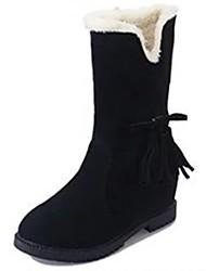 Damen Schuhe PU Winter Komfort Schneestiefel Stiefel Flacher Absatz Runde Zehe Mittelhohe Stiefel Schleife Für Normal Schwarz Braun Wein