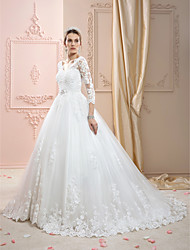 cheap -Ball Gown V Neck Court Train Lace Over Tulle Made-To-Measure Wedding Dresses with Appliques / Crystals by LAN TING BRIDE® / Illusion Sleeve / Open Back