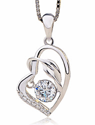 cheap -Women's Heart Love Fashion Pendant Necklace AAA Cubic Zirconia Sterling Silver Zircon Pendant Necklace , Gift Ceremony