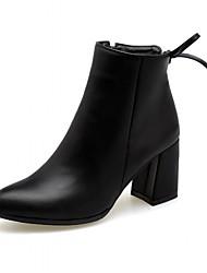 Damen Schuhe Kunstleder Herbst Winter Komfort Neuheit Stiefeletten Stiefel Blockabsatz Spitze Zehe Booties / Stiefeletten Schleife Für