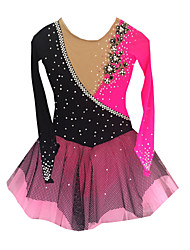 cheap -Figure Skating Dress Women's Girls' Ice Skating Dress Vivid Pink Spandex Rhinestone Appliques Tulle High Elasticity Performance Skating