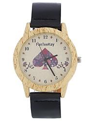 abordables -Hombre Mujer Cuarzo Reloj de Pulsera Chino Gran venta Piel Banda Encanto Heart Shape Vintage Casual Reloj creativo único Madera Elegant