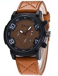 abordables -Hombre Cuarzo Reloj de Pulsera Chino Gran venta PU Banda Casual Reloj de Vestir Moda Negro Azul Naranja Marrón Verde