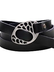 Homme Femme Bracelets Bracelets en cuir Fait à la main Simple Style Cuir Alliage Bouton Twist Circle Bijoux Pour Décontracté Sortie