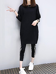 cheap -Women's Sports Work Casual Winter Fall Hoodie Pant Suits,Solid Striped Round Neck Long Sleeve Cotton Polyester Micro-elastic