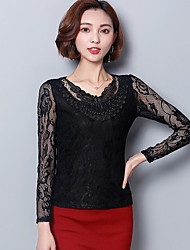 cheap -Women's Daily Casual Blouse,Solid Stand Long Sleeves Polyester