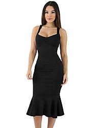 Moulante Robe Femme Soirée Sexy,Couleur Pleine Col en U Midi Sans Manches Polyester Spandex Eté Taille Haute Elastique Moyen
