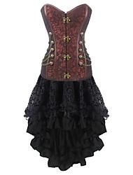 economico -Per donna Gancetti Vestiti con corsetto, Medio spessore Cotone Tinta unita Marrone Nero