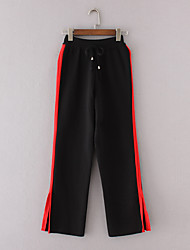 Women's Mid Rise Micro-elastic Sweatpants Pants,Street chic Active Simple Loose Striped Color Block