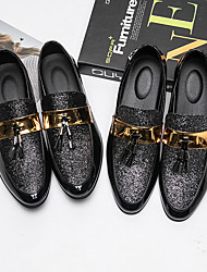 Men's Shoes Suede Fall Winter Driving Shoes Formal Shoes Comfort Loafers & Slip-Ons Flower For Wedding Party & Evening Silver Black