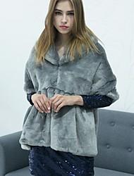 Feminino Casaco de Pêlo Para Noite Casual Trabalho Simples Activo Outono Inverno,Sólido Longo Pêlo Sintético Pêlo de Guaxinim Lapela Xale