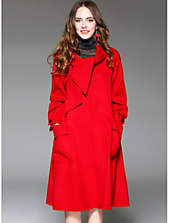 Women's Going out Street chic Winter CoatSolid Hooded Long Sleeve Long Wool
