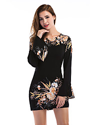 cheap -Women's Daily Holiday Going out Club Street chic Sheath Dress,Floral Round Neck Mini Long Sleeves Polyester Winter Fall High Rise