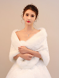 cheap -Rabbit Fur Faux Fur Wedding Party / Evening Women's Wrap With Pattern / Print Shawls