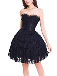 Damen Korsett-Kleider Nachtwäsche,Sexy Push-Up Retro Blumen-Baumwolle