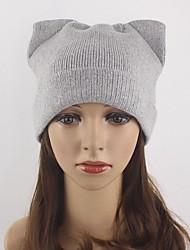 жен. Шапки Вязаная одежда Широкополая шляпа Лыжная шапочка,Осень Зима Шерсть Акрил Однотонный Чистый цвет