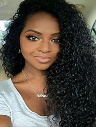 cheap -Women Human Hair Lace Wig Brazilian Human Hair 360 Frontal 180% Density With Baby Hair Curly Kinky Curly Wig Black Medium Brown Dark