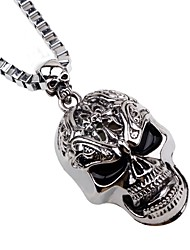 cheap -Men's Long Pendant Necklace / Chain Necklace - Skull Hip-Hop Silver Necklace One-piece Suit For Christmas, Bar