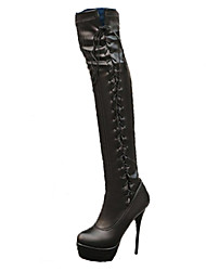 cheap -Women's Shoes PU Fall Winter Comfort Novelty Fashion Boots Boots Stiletto Heel Pointed Toe Thigh-high Boots Lace-up For Office & Career