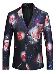 Men's Casual/Daily Simple Fall Winter Blazer,Print Notch Lapel Long Sleeve Regular Polyester