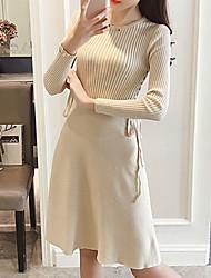 Trapèze Robe Femme Sortie Décontracté / Quotidien simple,Couleur Pleine Col Arrondi Mi-long Manches Longues Polyester Automne Hiver