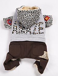 cheap -Dog Coat Sweatshirt Jumpsuit Dog Clothes Casual/Daily Keep Warm Sports Color Block Leopard Costume For Pets