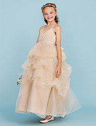 cheap -Ball Gown Spaghetti Straps Ankle Length Tulle Junior Bridesmaid Dress with Bow(s) by LAN TING BRIDE®