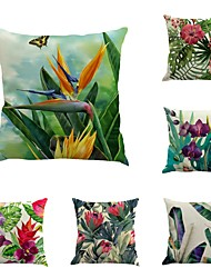 cheap -Set Of 6 Novelty Tropical Plants Flowers Pattern  Linen Sofa Cushion Cover Pillow Case