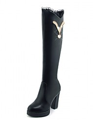 cheap -Women's Shoes Leatherette Spring Winter Fashion Boots Boots Chunky Heel Round Toe Knee High Boots Polka Dot For Casual Office & Career