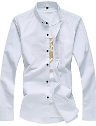 Men's Plus Size Casual/Daily Simple Summer Fall Shirt,Solid Button Down Collar Long Sleeves Cotton Medium