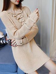 Standard Pullover Da donna-Casual Tinta unita A V Manica lunga Cotone Autunno Medio spessore Media elasticità