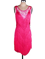 cheap -Latin Dance Women's Performance Spandex Tassel Sleeveless Natural Dress