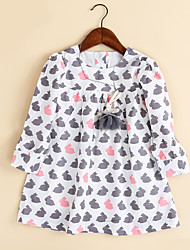 cheap -Girls' Basic / Cartoon / Leisure Birthday / Daily / Holiday Animal Long Sleeve Dress / Cotton / Going out / Korean / Adorable / Fashion