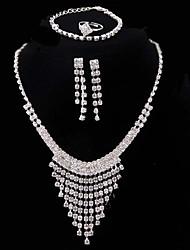 Жен. Свадьба Для вечеринок Серебрянное покрытие Ожерелья Серьги браслеты Кольца