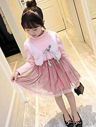 cheap -Girl's Daily Solid Dress,Cotton Polyester Winter Fall Long Sleeve Lace Blushing Pink