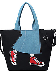 cheap -Women's Bags Canvas Tote Pattern / Print for Shopping Casual All Seasons Blue Black Army Green