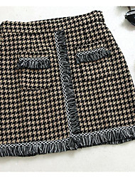 cheap -Women's Holiday Above Knee Skirts A Line Color Block Check Spring Winter