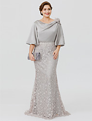 Mermaid / Trumpet Cowl Neck Floor-length Lace Satin Chiffon Mother of the Bride Dress with Appliques Flower(s) Sashes/ Ribbons by LAN