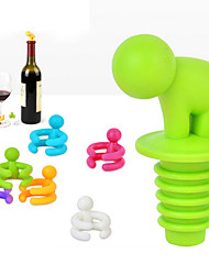 Creative Shape Small Drunkard Wine Bottle Stopper With Six Wine Glass Marker Funny Cup Marke Random Color