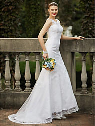 cheap -Mermaid / Trumpet Scoop Neck Sweep / Brush Train Tulle Wedding Dress with Beading Appliques by LAN TING BRIDE®