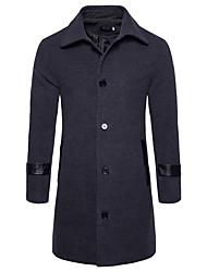 Men's Going out Casual/Daily Simple Active Chinoiserie Fall Winter Trench Coat,Solid Color Block Shirt Collar Long Sleeve Long Cotton