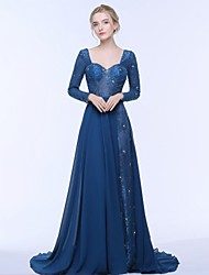 cheap -A-Line Sweetheart Court Train Chiffon Lace Tulle Mother of the Bride Dress with Beading Draping Ruching by LAN TING BRIDE®