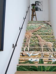 cheap -13Pcs/Set DIY Giraffe Geramic Tiles Stairway Wall Stickers Deer Stairs Decal Natural Landscape Creative Corridor Floor Sticker Home Decor 18*100*13cm