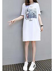 Damen Etuikleid T Shirt Kleid-Lässig/Alltäglich Druck Rundhalsausschnitt Midi Kurzarm Baumwolle Sommer Mittlere Hüfthöhe Mikro-elastisch