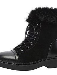 Women's Shoes Real Leather Cowhide Suede Fall Winter Snow Boots Fashion Boots Boots Chunky Heel Round Toe Mid-Calf Boots Lace-up For