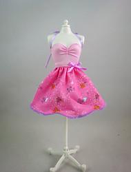 Para Boneca Barbie Rosa Estampado Vestido Para Menina de Boneca de Brinquedo