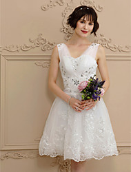 A-Line V-neck Short / Mini Tulle Wedding Dress with Beading by Amgam